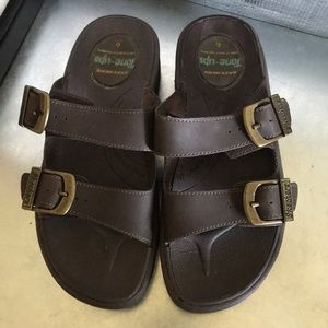 Sketchers tone ups brown Strap slide sandals